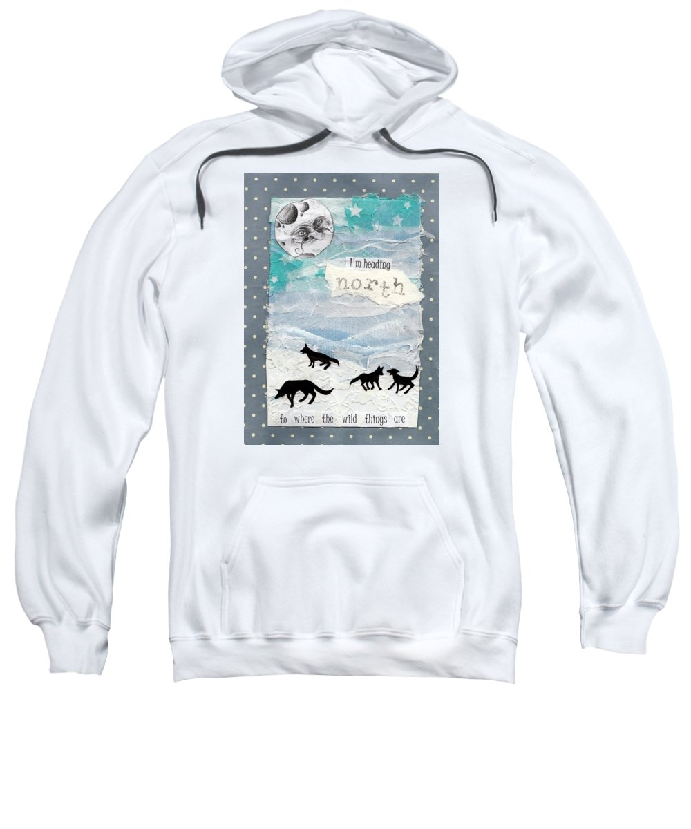 Holly Brook Illustration Moon Wolf Snow Ice Collage Sweatshirt featuring the mixed media Heading North by Sylvie Boersma