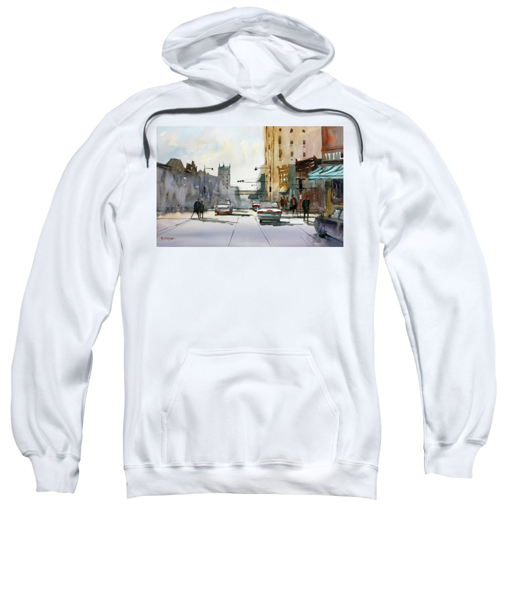 Ryan Radke Sweatshirt featuring the painting Heading West On College Avenue - Appleton by Ryan Radke