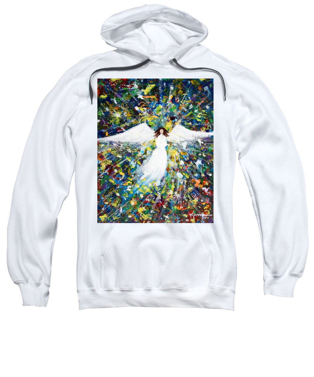 Heavenly Sweatshirt featuring the painting Healing Angel 1 by Kume Bryant