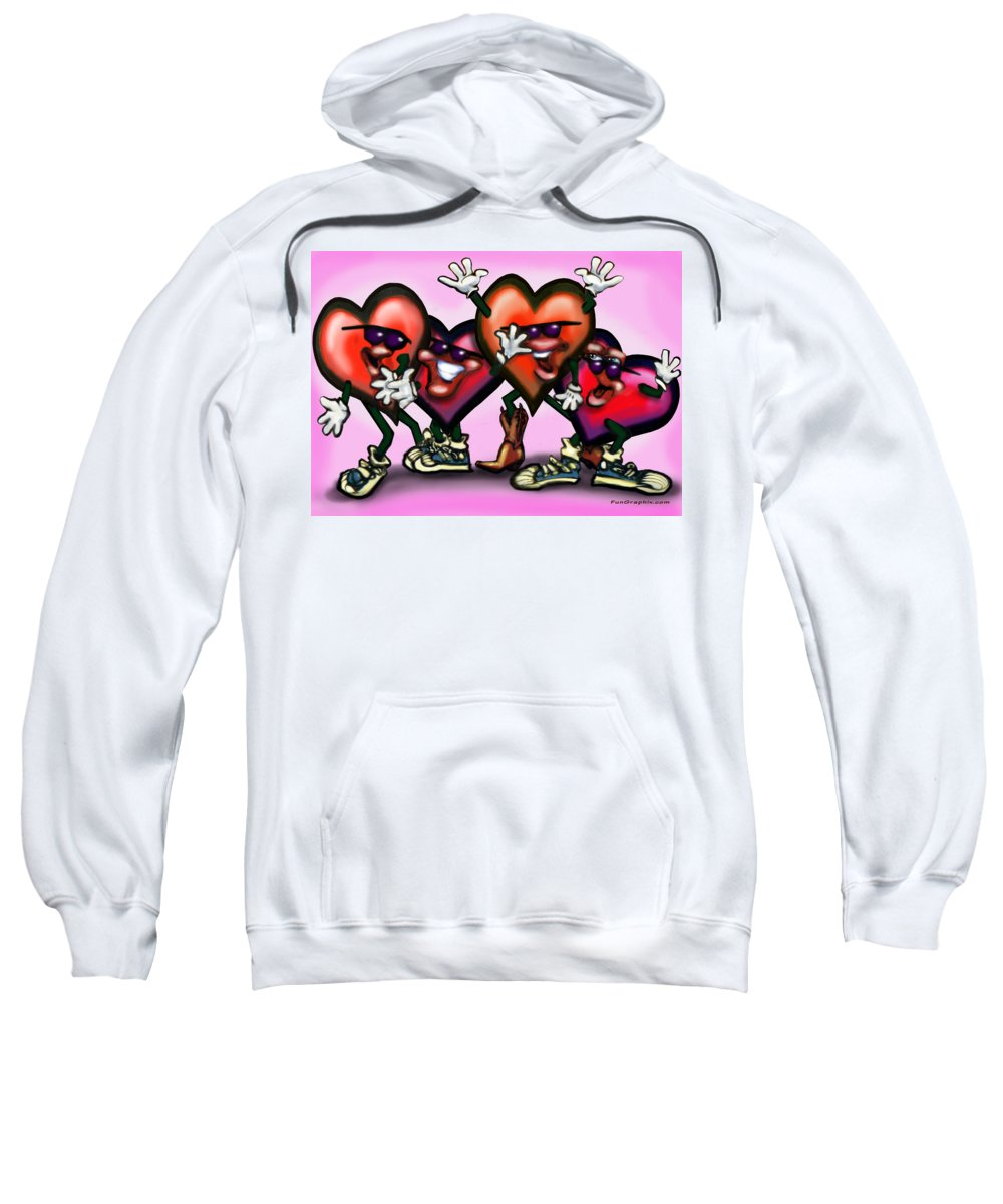 Heart Sweatshirt featuring the digital art Hearts Gang by Kevin Middleton