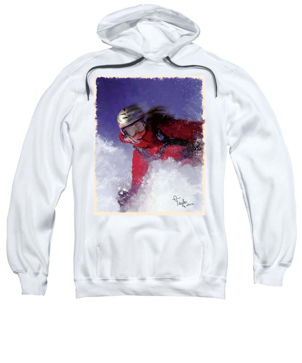 Ski Sweatshirt featuring the painting Hell Bent For Powder by Colleen Taylor