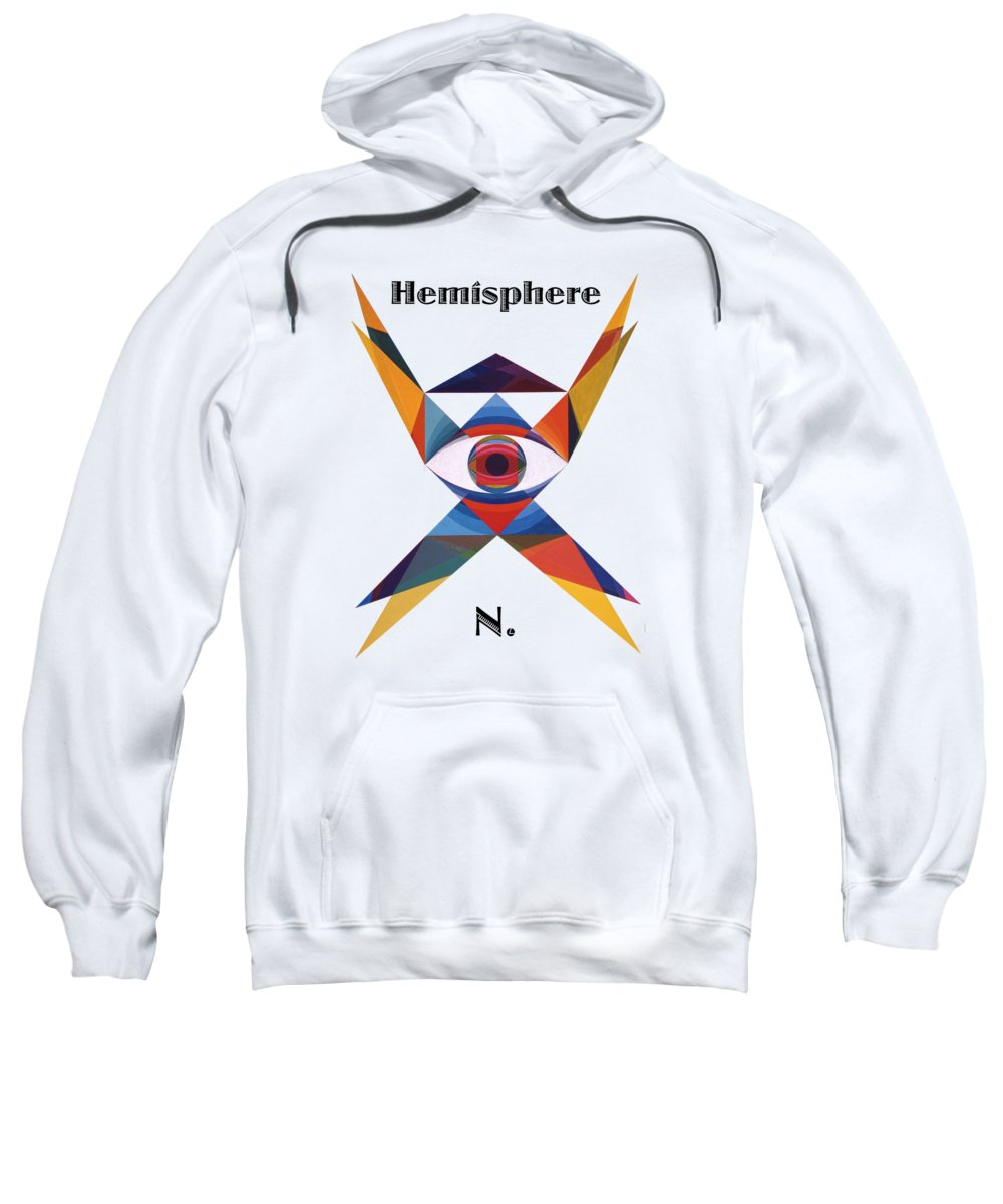 Painting Sweatshirt featuring the painting Hemisphere N. text by Michael Bellon