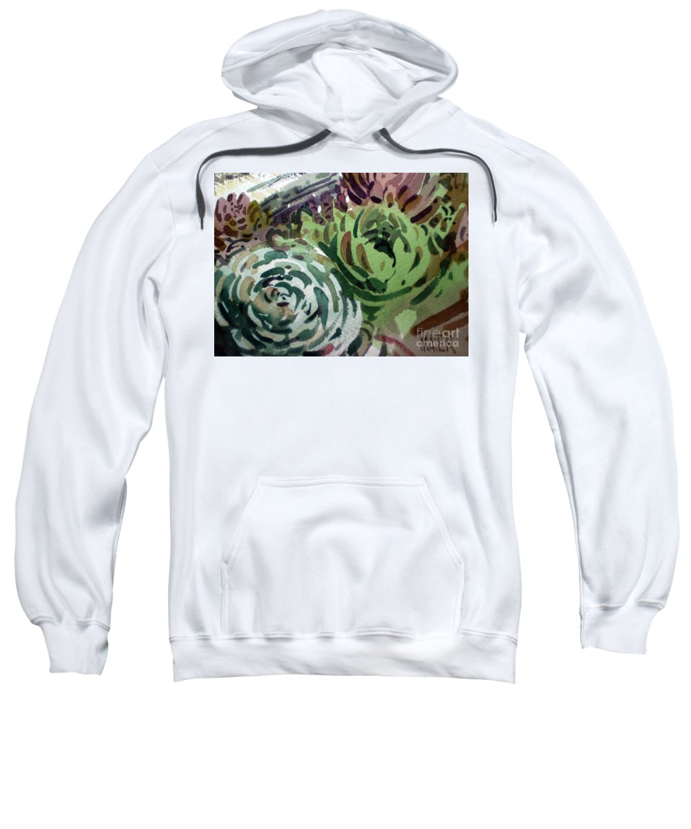 Succulent Plants Sweatshirt featuring the painting Hen And Chicks by Donald Maier