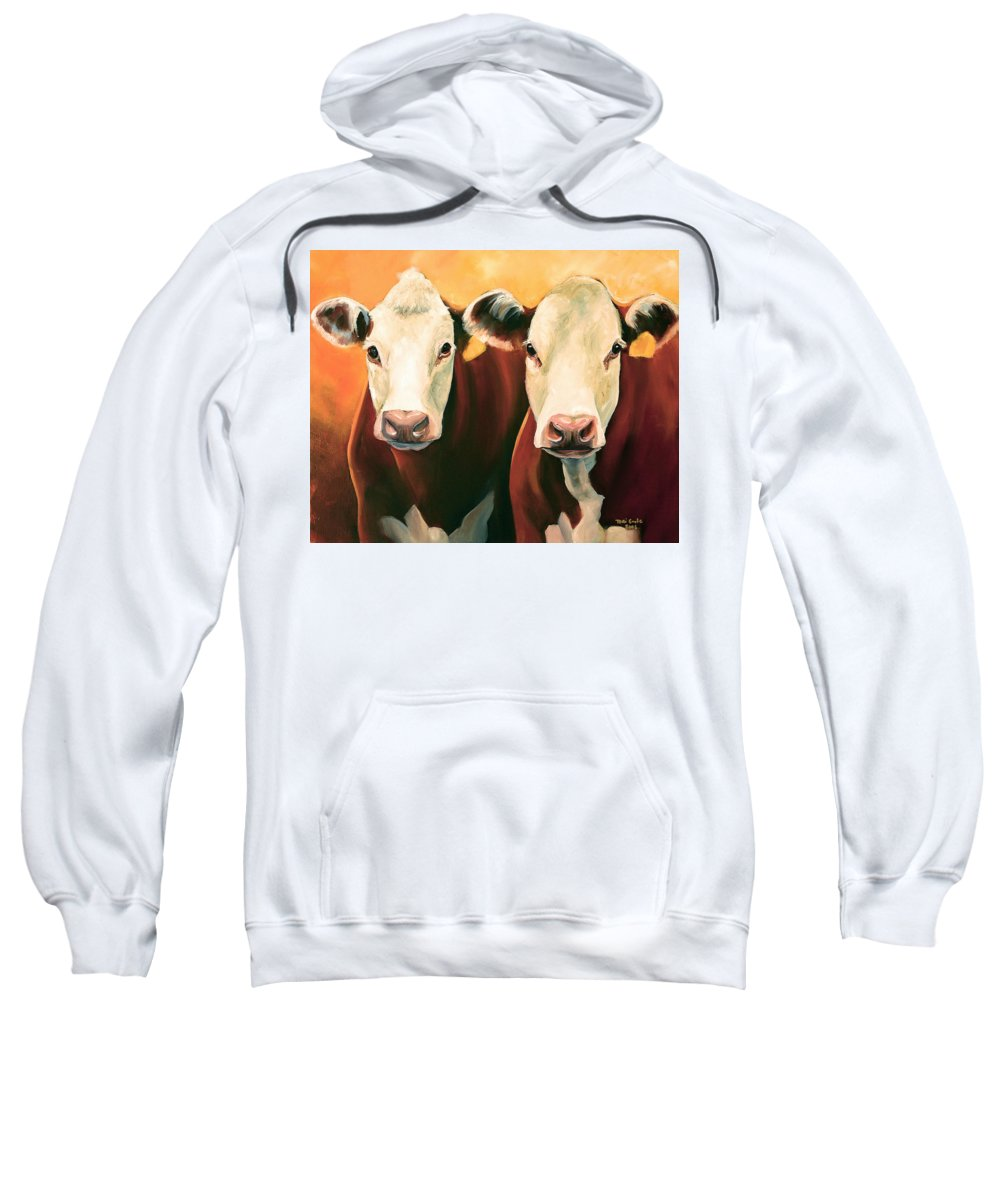 Cows Sweatshirt featuring the painting Herefords by Toni Grote