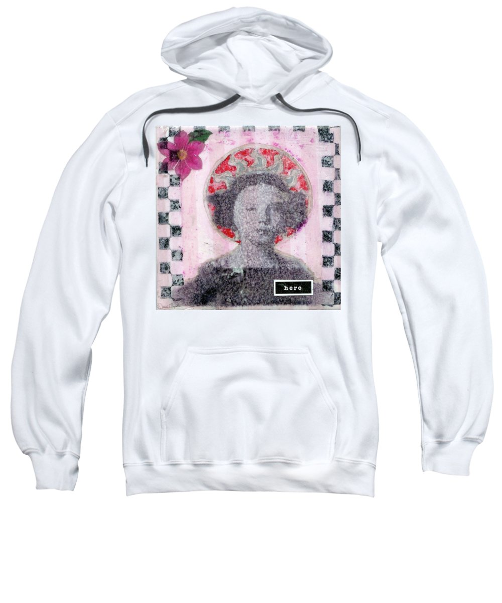 Pink Sweatshirt featuring the mixed media Hero by Desiree Paquette