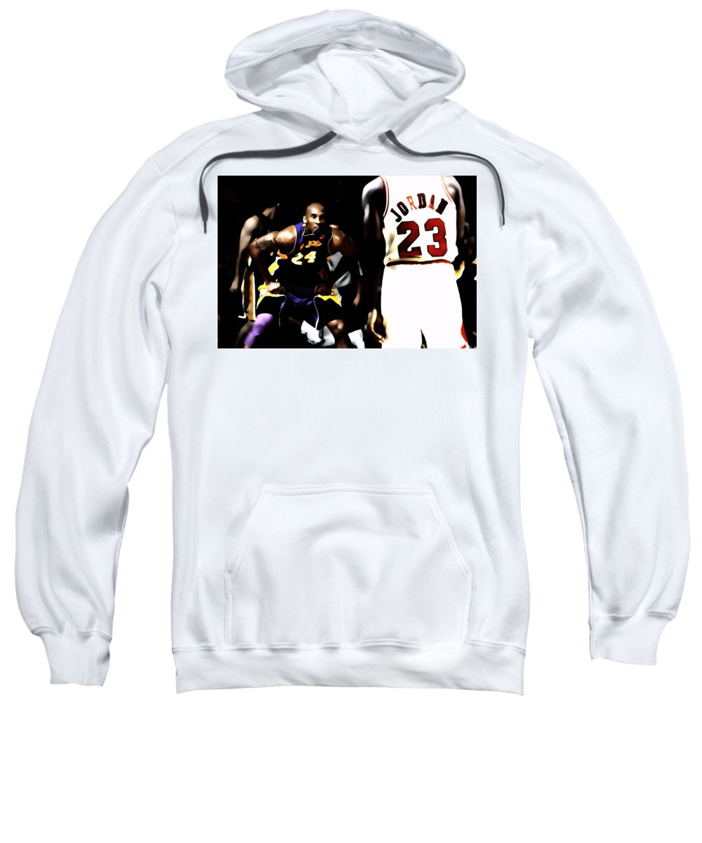 Michael Jordan Sweatshirt featuring the digital art Heroes Come And Go But Legends Are Forever by Brian Reaves