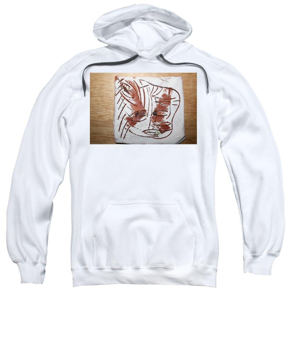 Jesus Sweatshirt featuring the ceramic art Hey - Tile by Gloria Ssali