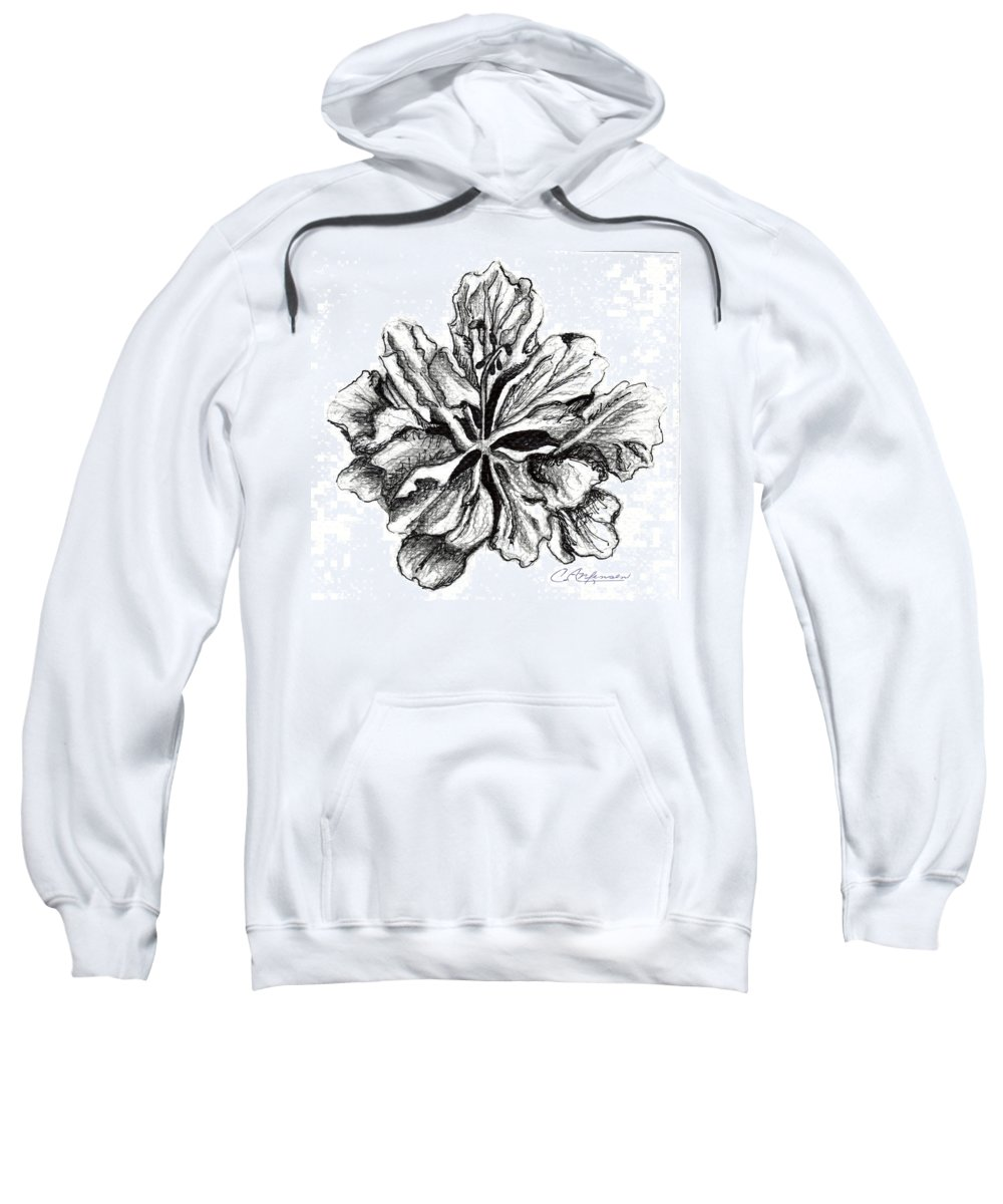 Hibiscus Sweatshirt featuring the drawing Hibiscus Bloom by Carol Allen Anfinsen