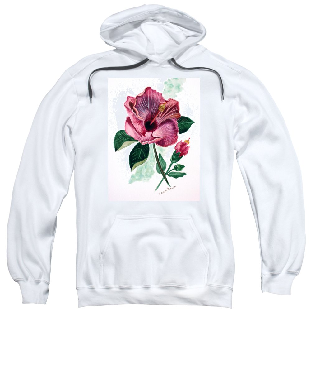 Flora Painting L Hibiscus Painting Pink Flower Painting Greeting Card Painting Sweatshirt featuring the painting Hibiscus Dusky Rose by Karin Dawn Kelshall- Best