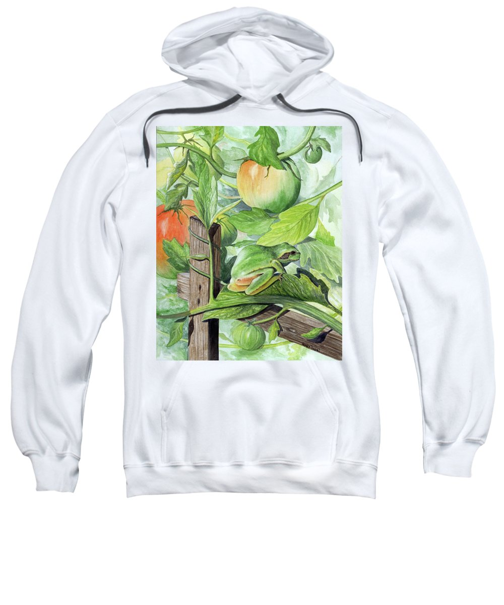Frog Sweatshirt featuring the painting Hidden II by Mary Tuomi