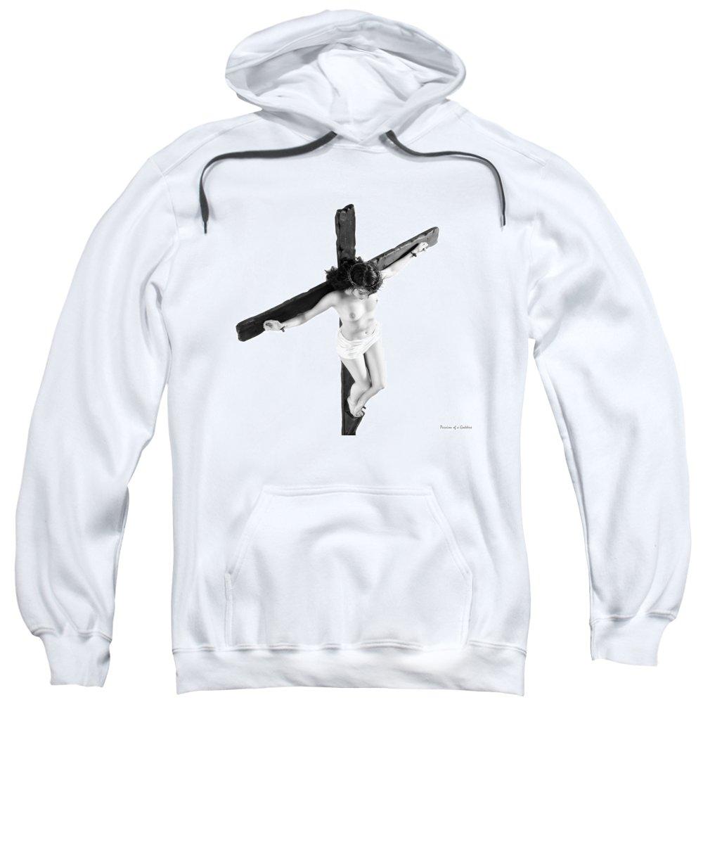 Female Crucifix Sweatshirt featuring the photograph High Key Female Crucifix by Ramon Martinez