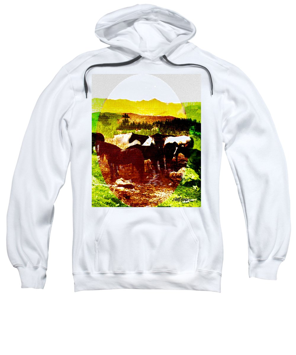 Mustangs Sweatshirt featuring the digital art High Plains Horses by Seth Weaver
