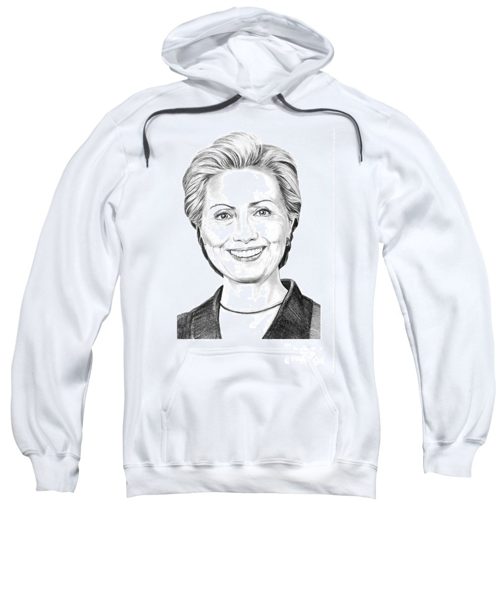 Pencil Sweatshirt featuring the drawing Hillary Clinton by Murphy Elliott