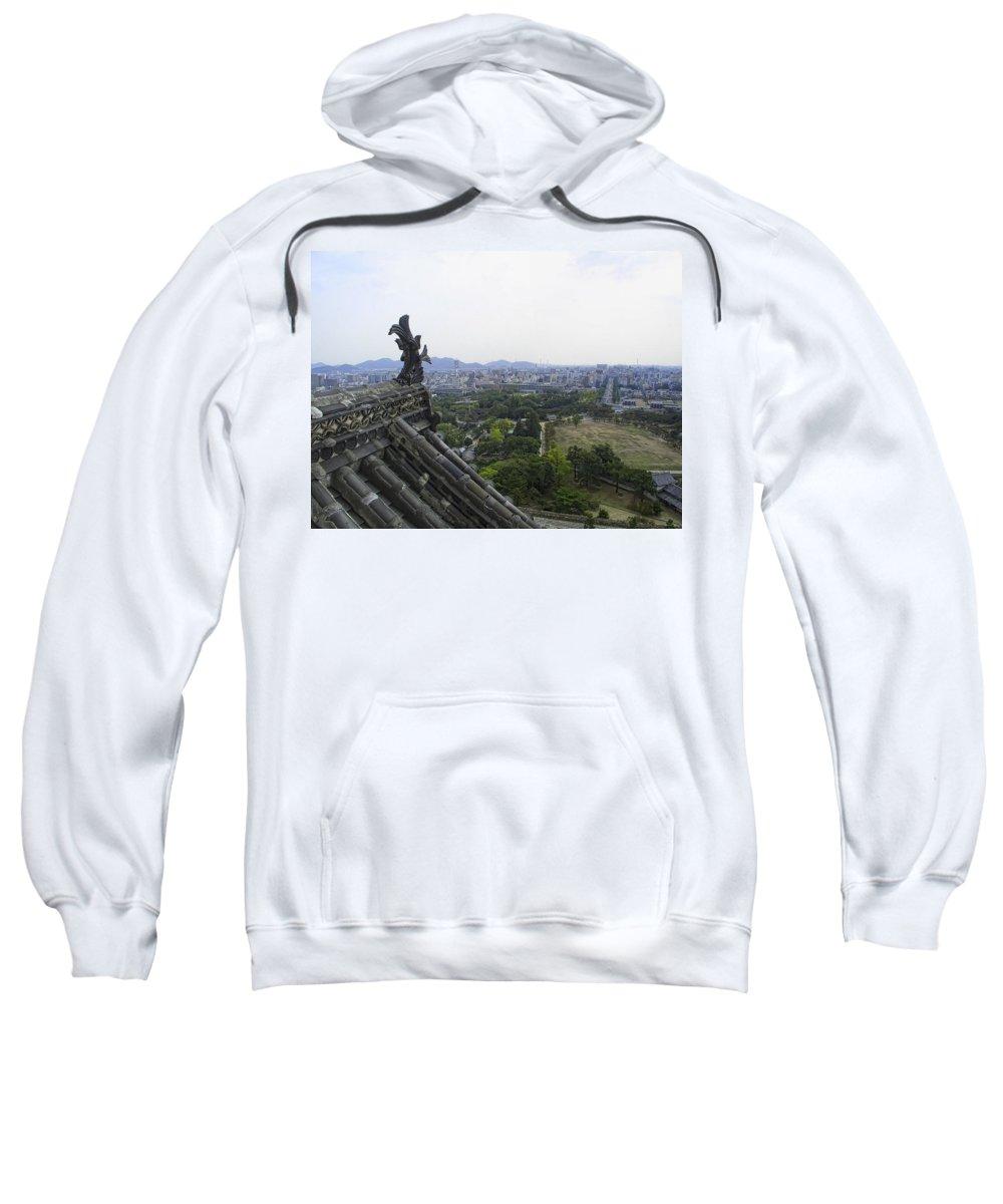 Himeji Sweatshirt featuring the photograph Himeji City From Shogun's Castle by Daniel Hagerman