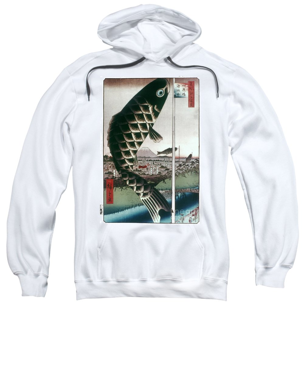 100 Famous Views Of Edo Sweatshirt featuring the photograph Hiroshige: Kites, 1857 by Granger