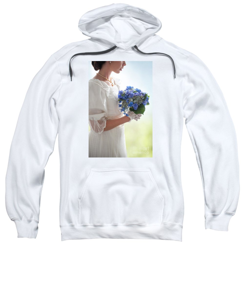 Edwardian Sweatshirt featuring the photograph Historical Woman Holding A Bouquet Of Hydrangea by Lee Avison