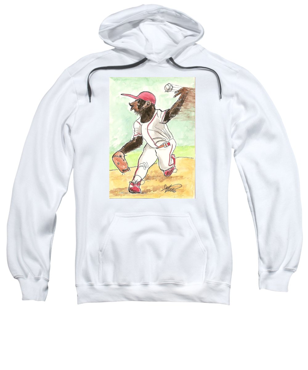 Baseball Sweatshirt featuring the drawing Hit This by George I Perez