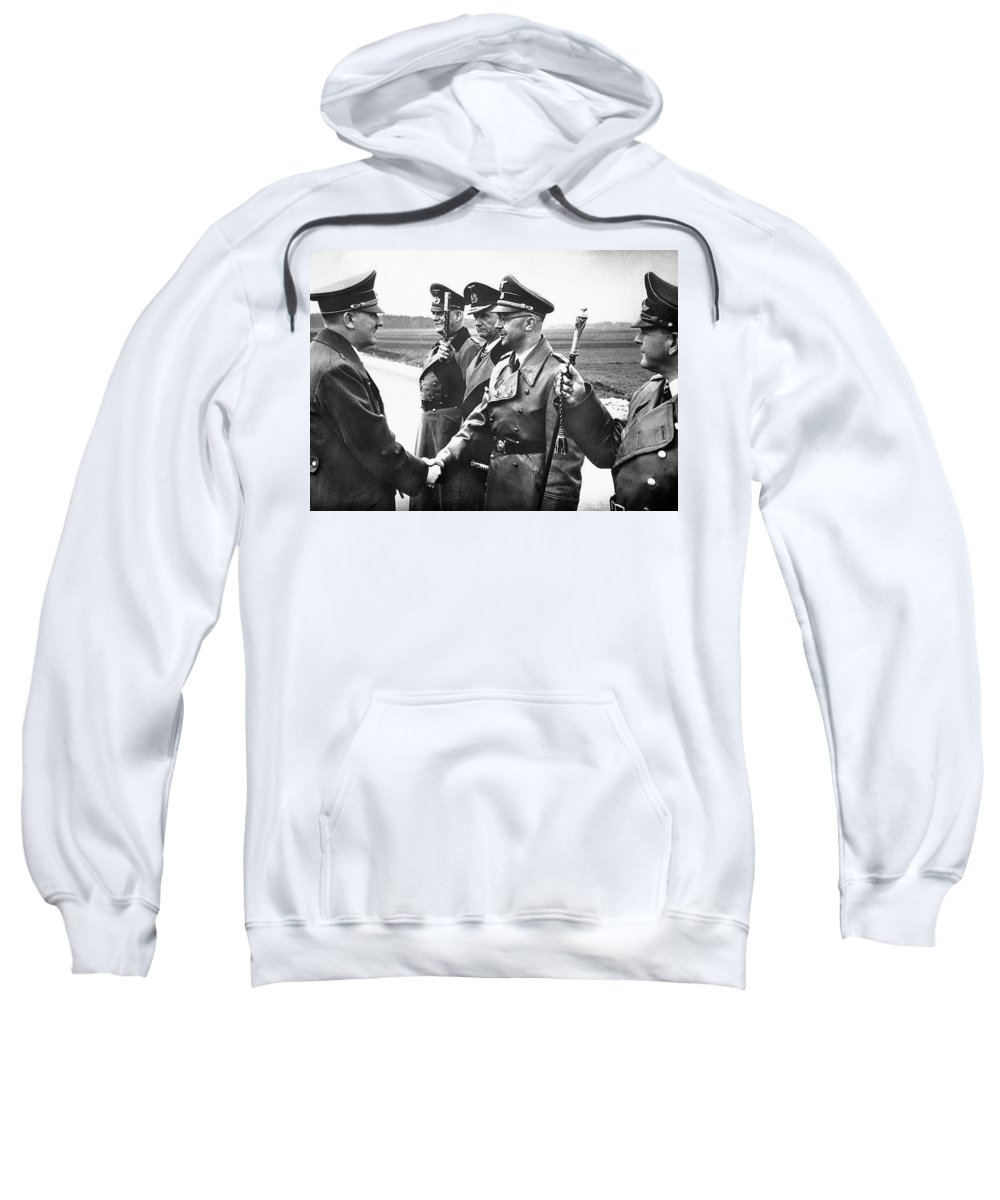 Hitler Shaking Hands With Heinrich Himmler Unknown Date Or Location Sweatshirt featuring the photograph Hitler Shaking Hands With Heinrich Himmler Unknown Date Or Location by David Lee Guss