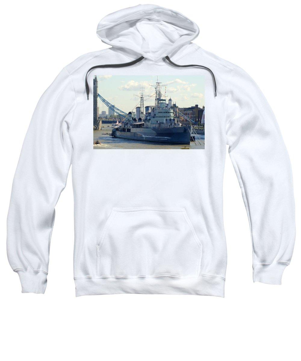 Hms Belfast Sweatshirt featuring the photograph Hms Belfast 7 by Chris Day