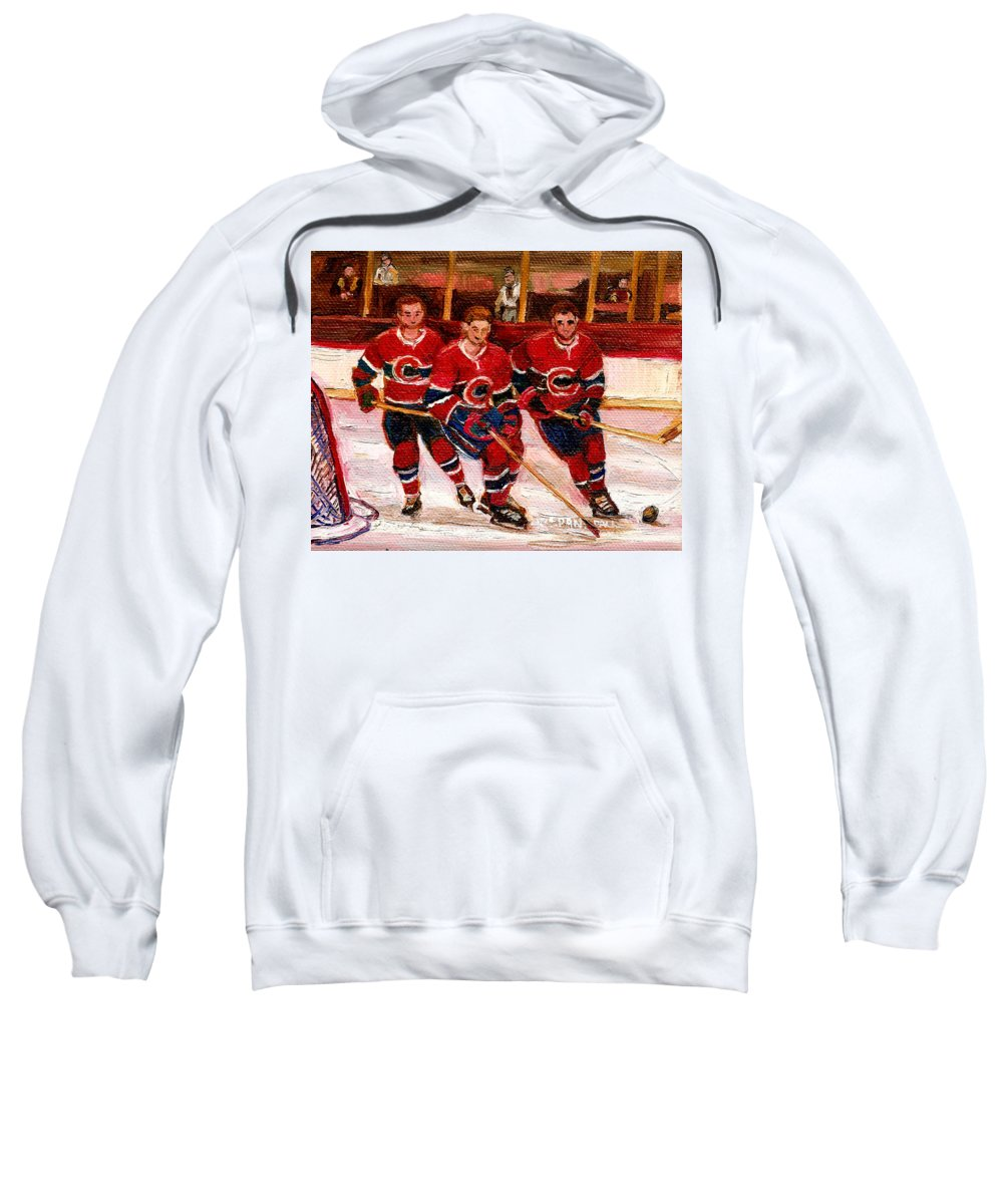 Hockey Art Sweatshirt featuring the painting Hockey At The Forum by Carole Spandau