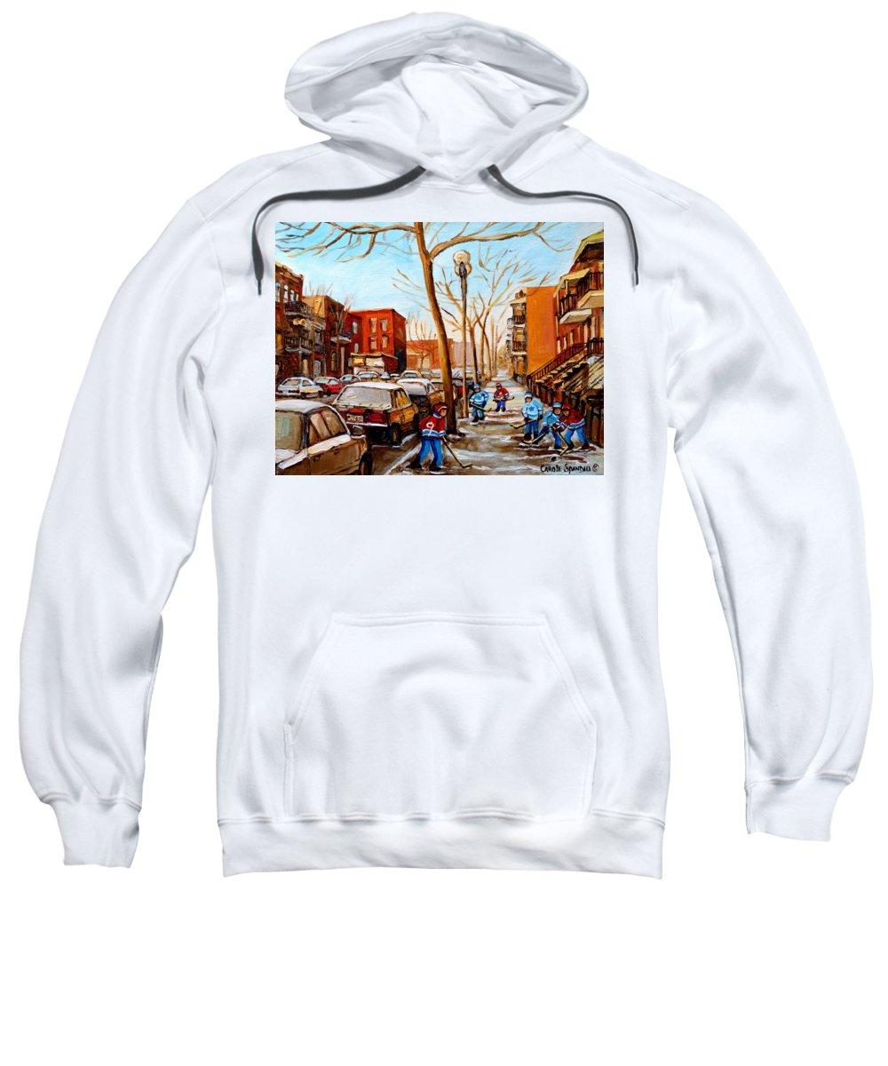 Hockey Sweatshirt featuring the painting Hockey On St Urbain Street by Carole Spandau