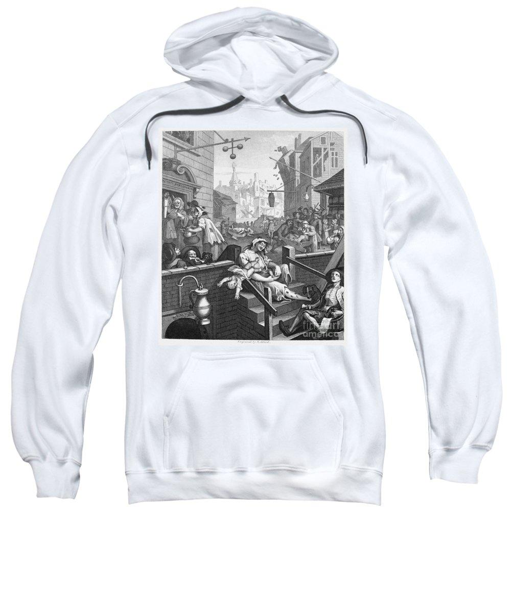 18th Century Sweatshirt featuring the photograph Hogarth: Gin Lane by Granger