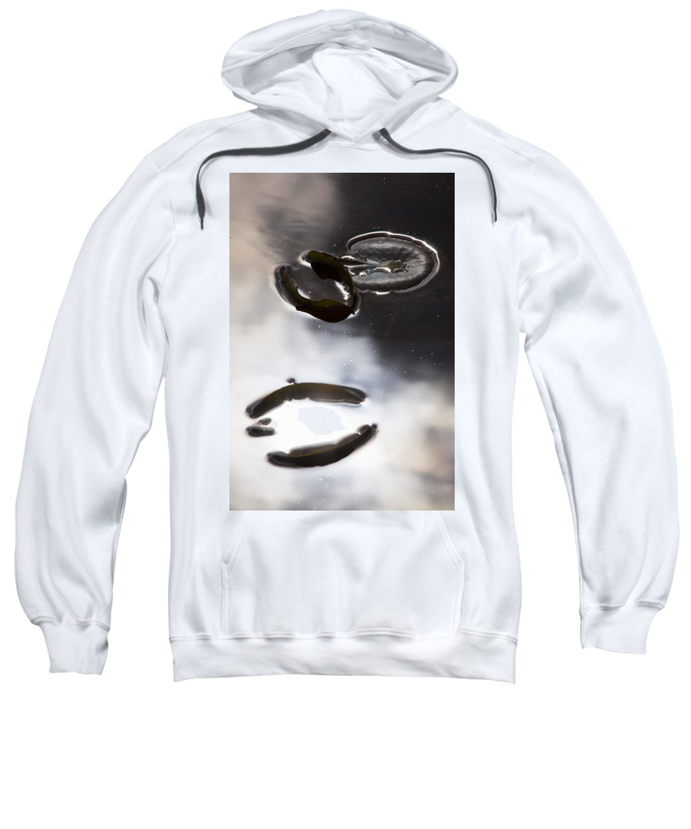 Water Pond Lake Leaf Leaves Reflection Nature Outdoors Drop Bright Cloud Sweatshirt featuring the photograph Holding The Sun by Andrei Shliakhau