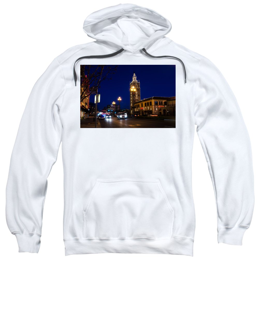 Skyline Sweatshirt featuring the photograph Holiday On The Plaza by John Diebolt