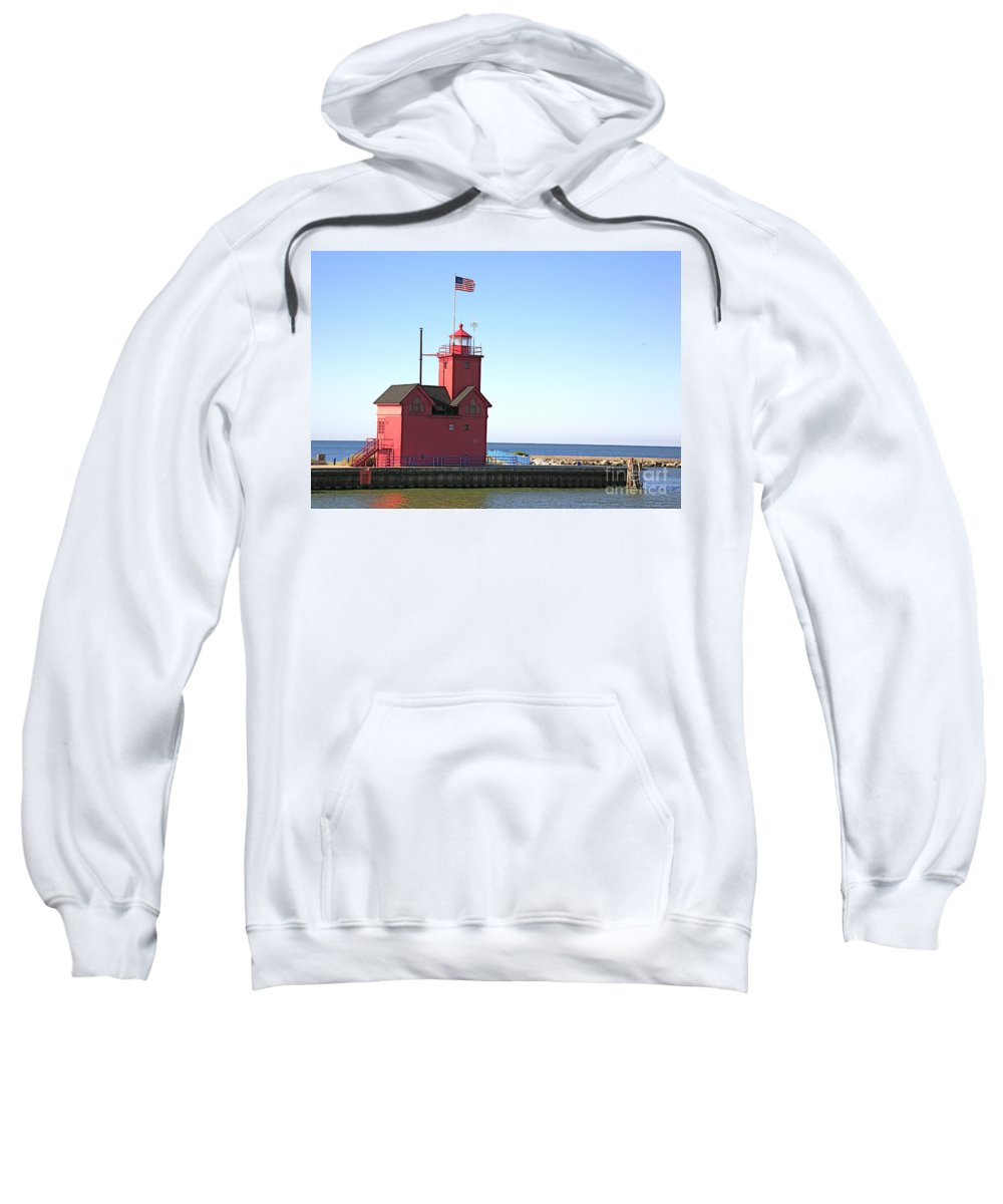 Light House Sweatshirt featuring the photograph Holland Mi-big Red by Robert Pearson
