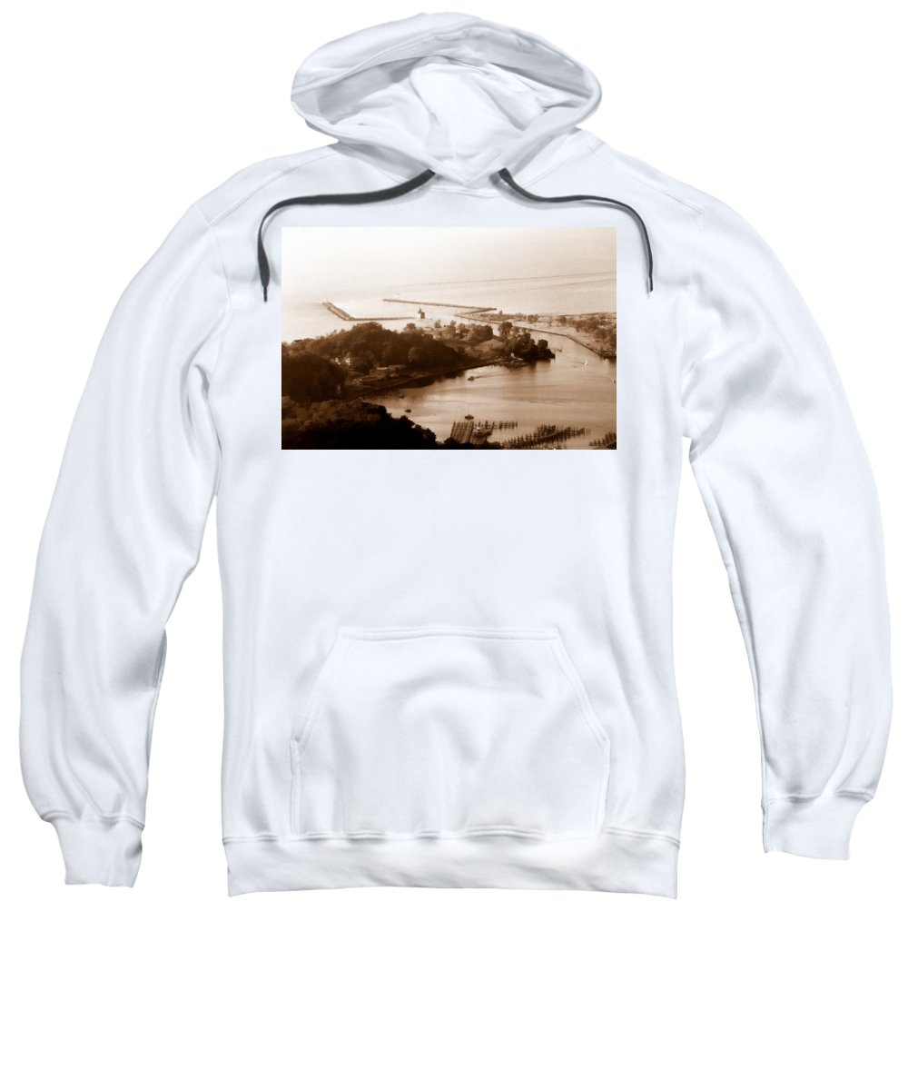Holland Sweatshirt featuring the photograph Holland Michigan Harbor Big Red Aerial Photo by Michelle Calkins