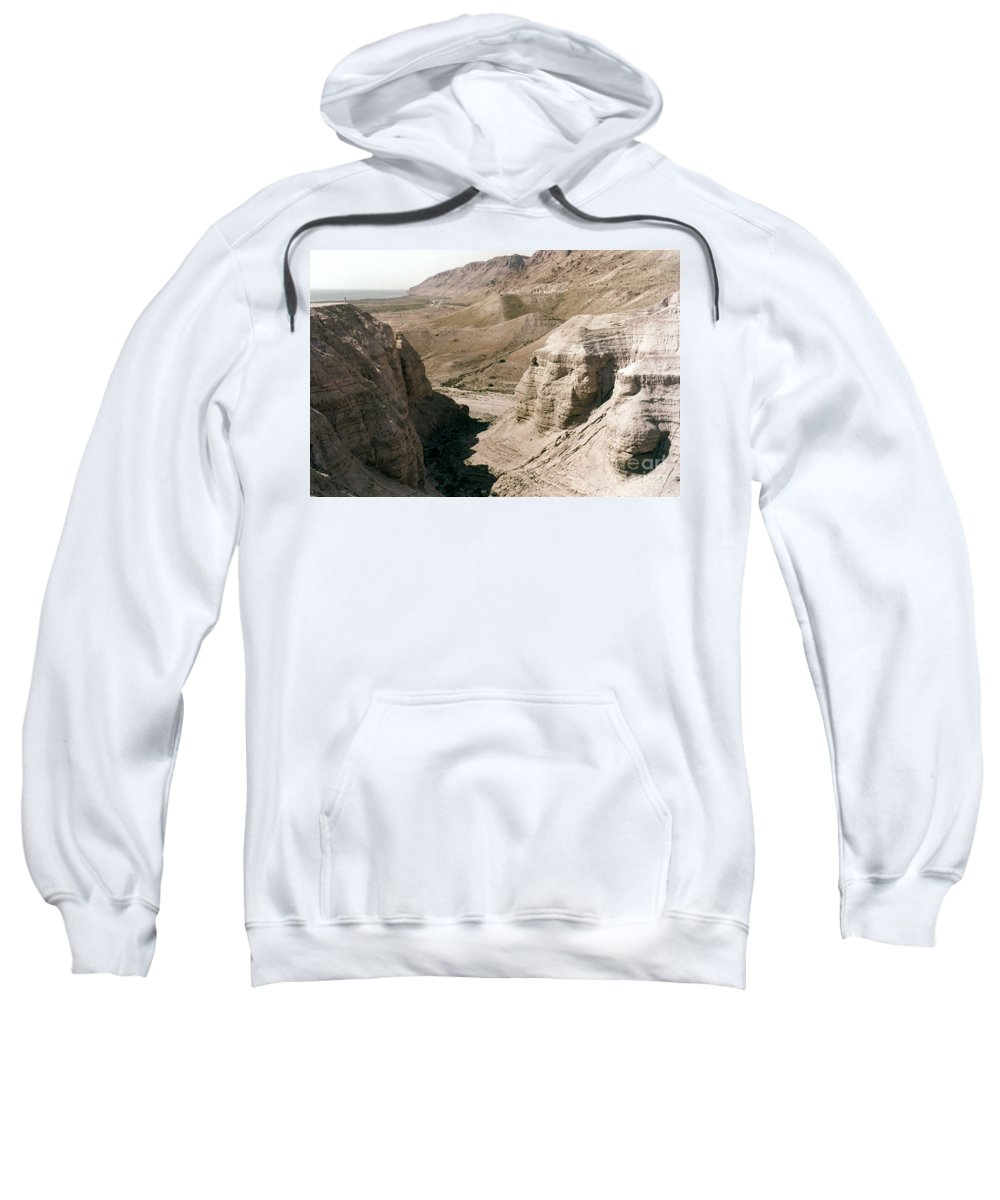 Ancient Sweatshirt featuring the photograph Holy Land: Qumran Caves by Granger