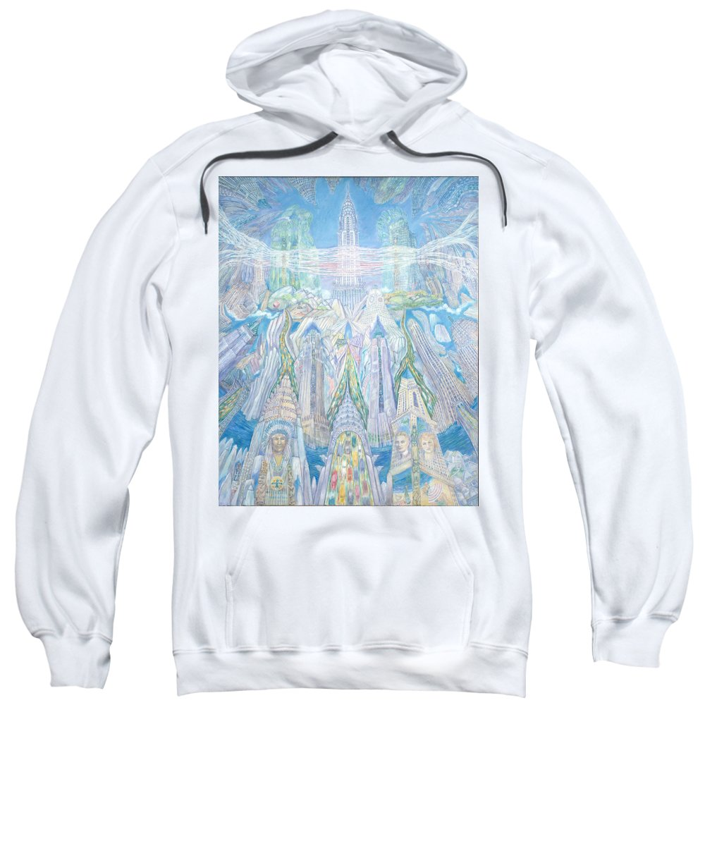 New York Cityscape Sweatshirt featuring the painting Homage To New York And The Chrysler Building by Patricia Buckley