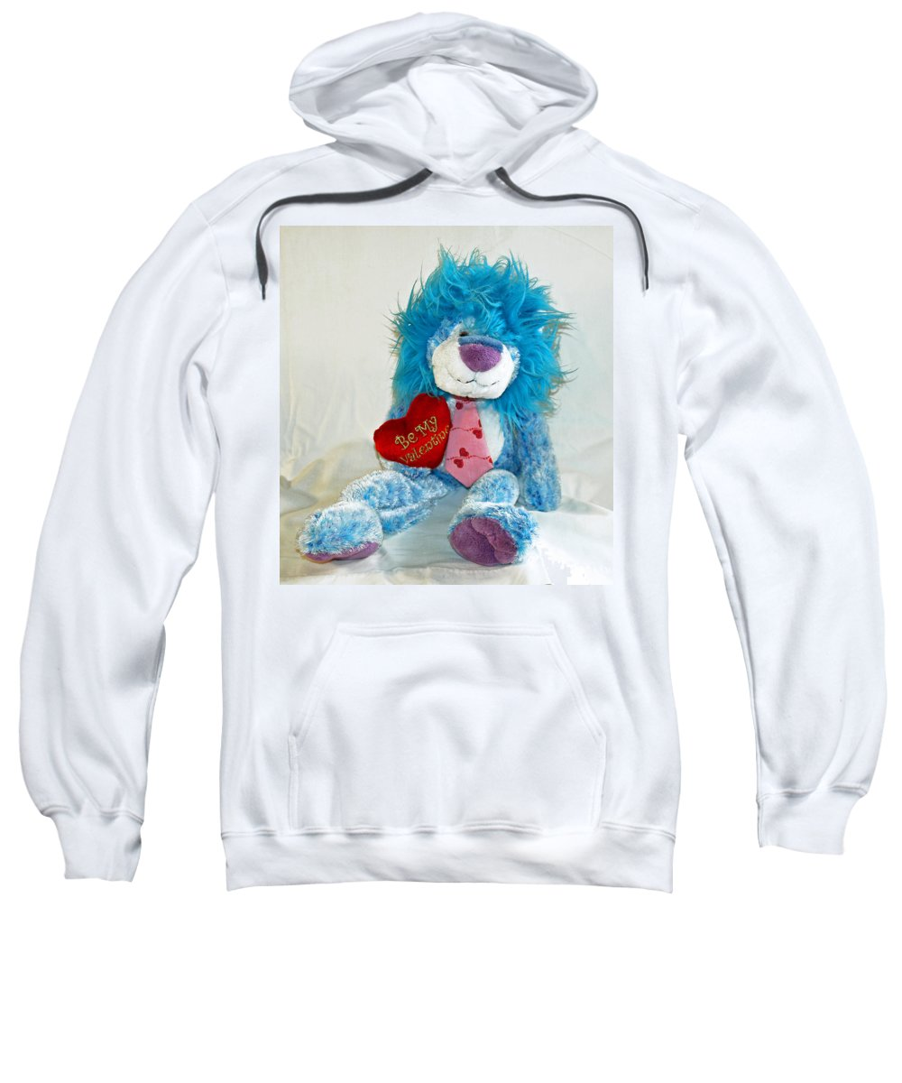Love; Hope; Hoping; Man; Male; Lion; Blue; Stuffed; Animal; Heart; Valentine; Hopeful; Lover; Suitor Sweatshirt featuring the photograph Hoping For Love by Allan Hughes