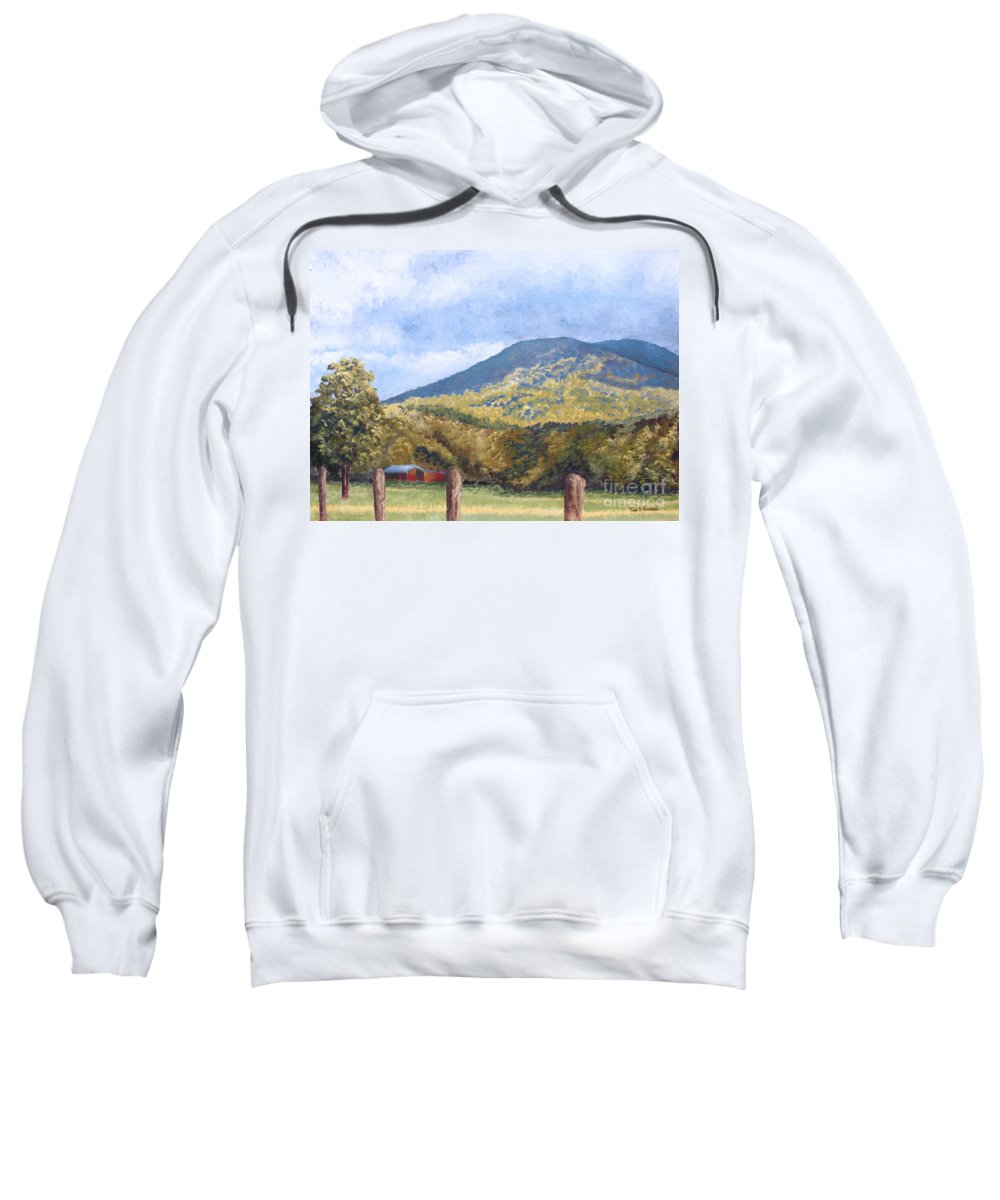 Landscape Sweatshirt featuring the painting Horse Barn At Cades Cove by Todd Blanchard