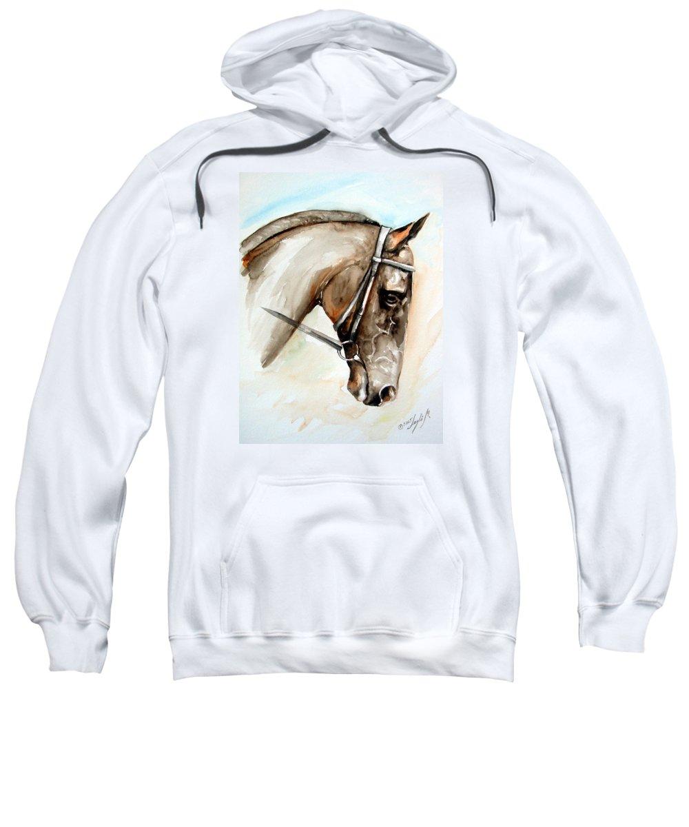Horse Sweatshirt featuring the painting Horse Head by Leyla Munteanu