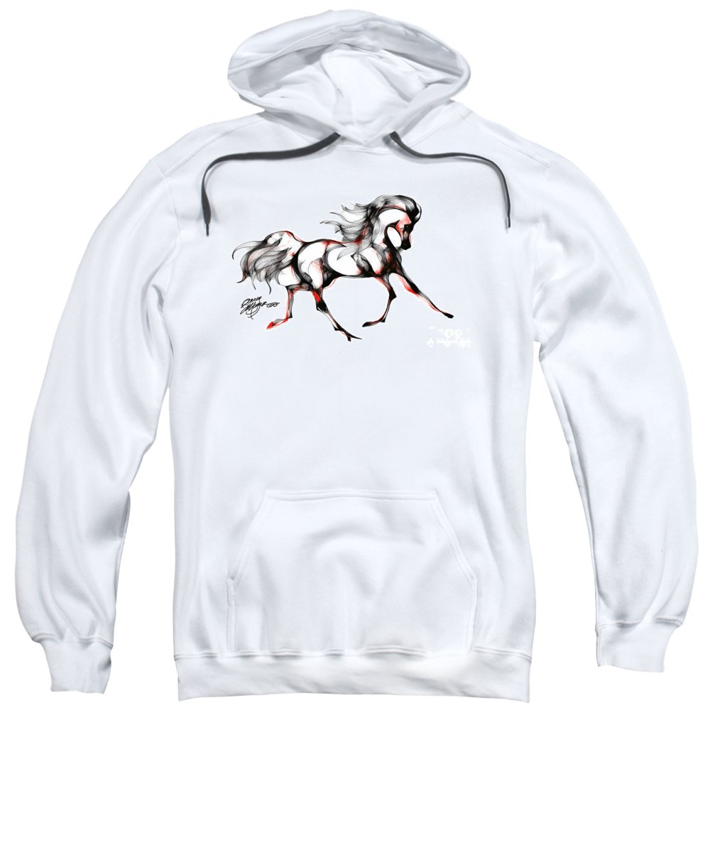 Horse Sweatshirt featuring the digital art Horse In Extended Trot by Stacey Mayer