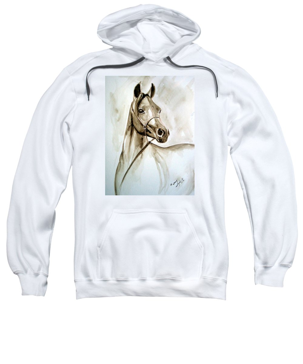 Portrait Of A Horse Sweatshirt featuring the painting Horse by Leyla Munteanu