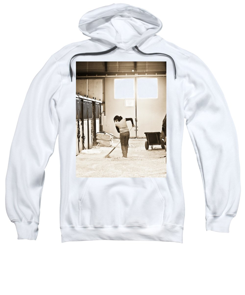 Horse Sweatshirt featuring the photograph Horse Work by Marilyn Hunt