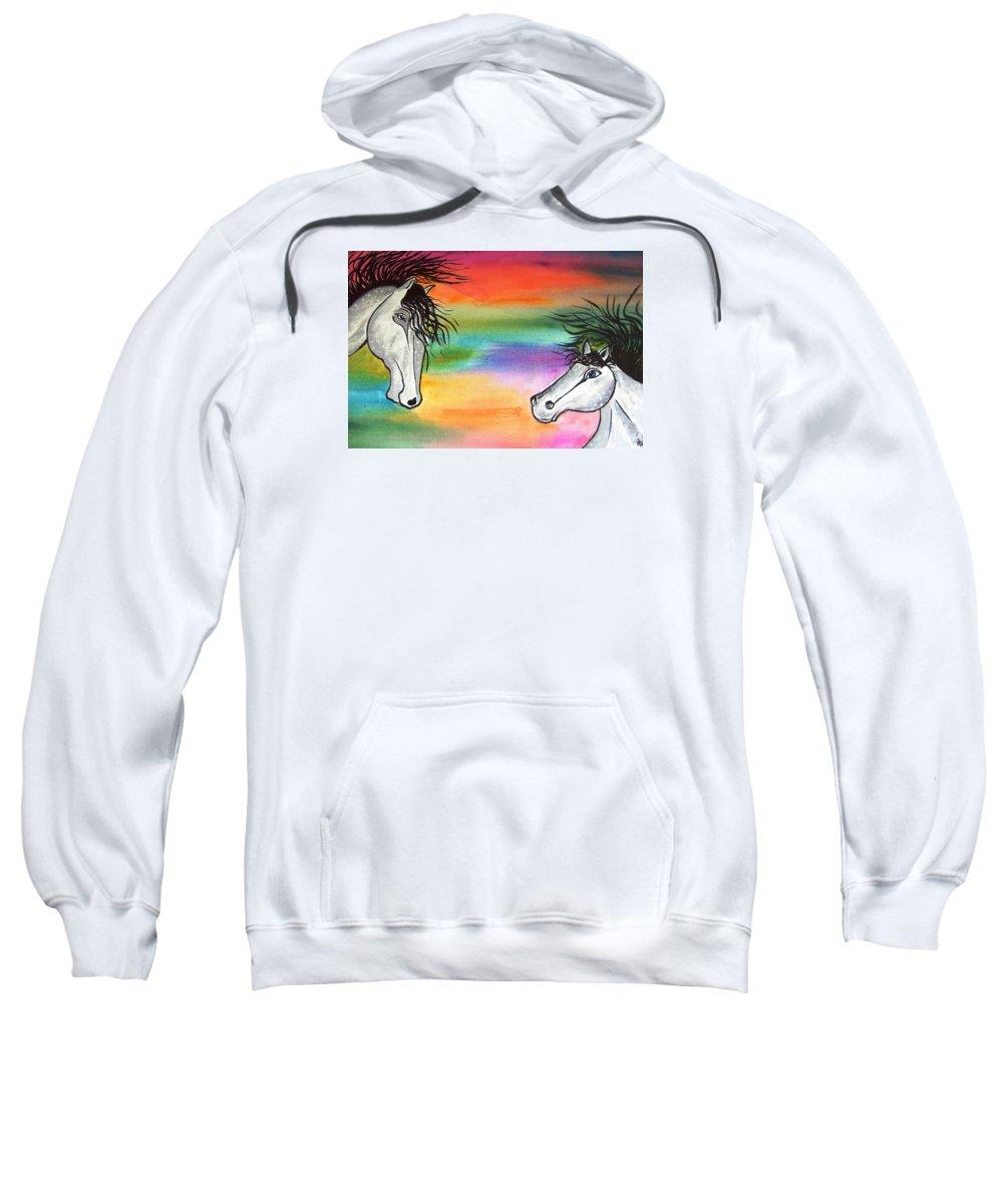 Horses Sweatshirt featuring the painting Horses by Sigita Smetonaite