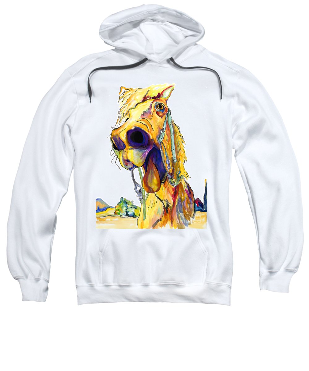 Animal Painting Sweatshirt featuring the painting Horsing Around by Pat Saunders-White