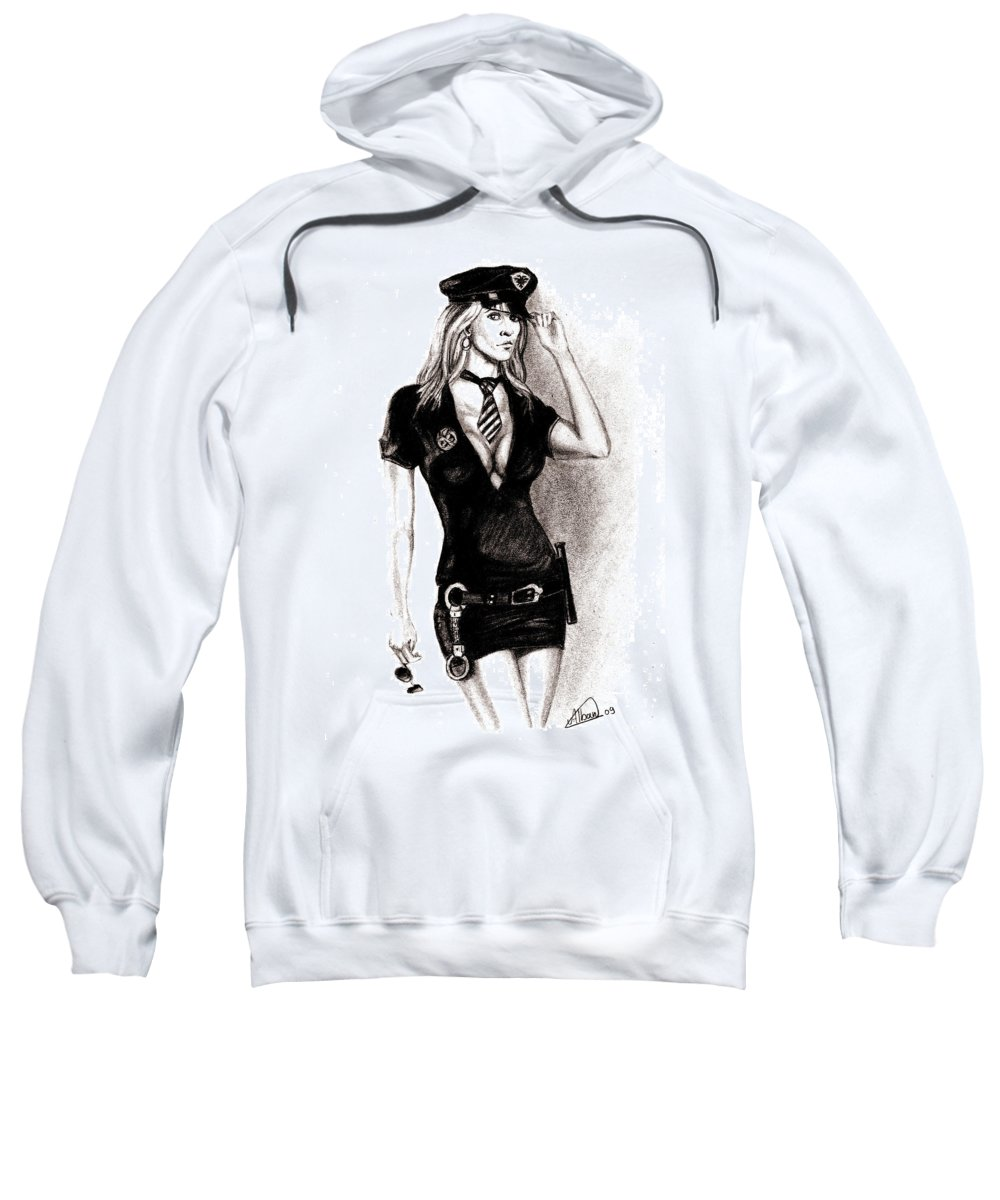 Police Sweatshirt featuring the drawing hot Police unifome by Alban Dizdari