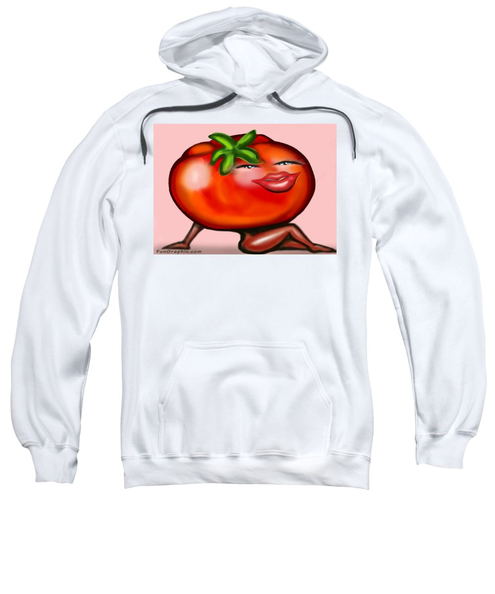 Tomato Sweatshirt featuring the greeting card Hot Tomato by Kevin Middleton