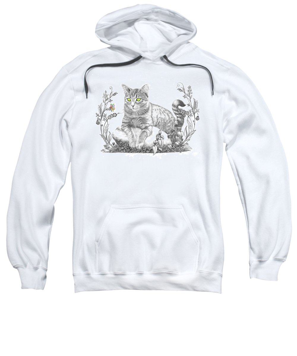 Cat Sweatshirt featuring the drawing House Cat by Murphy Elliott