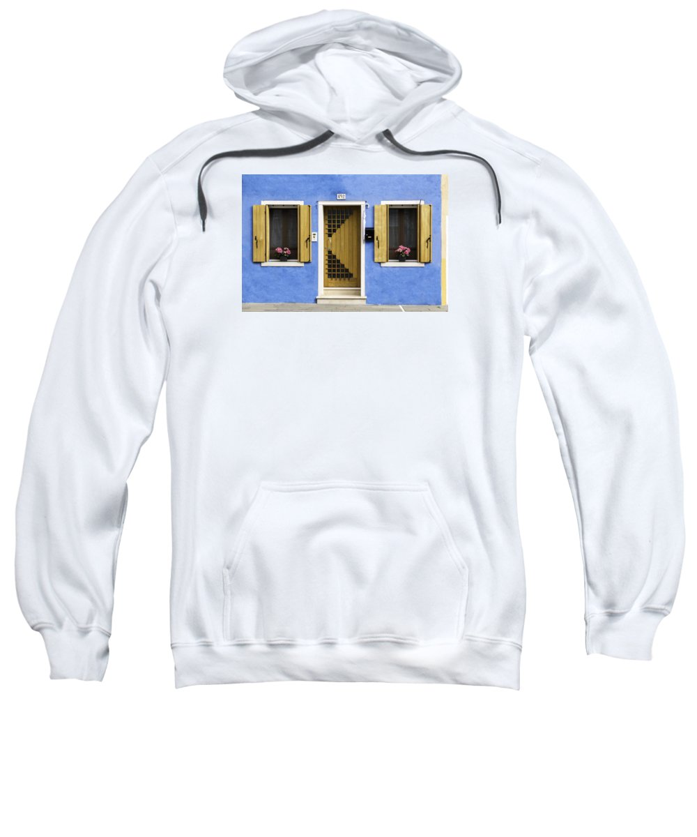 Home Sweatshirt featuring the photograph House Of Venice - Blue by Sophia Pagan