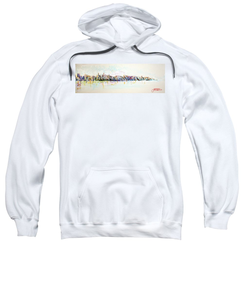 New York Sweatshirt featuring the painting Hudson River View by Jack Diamond