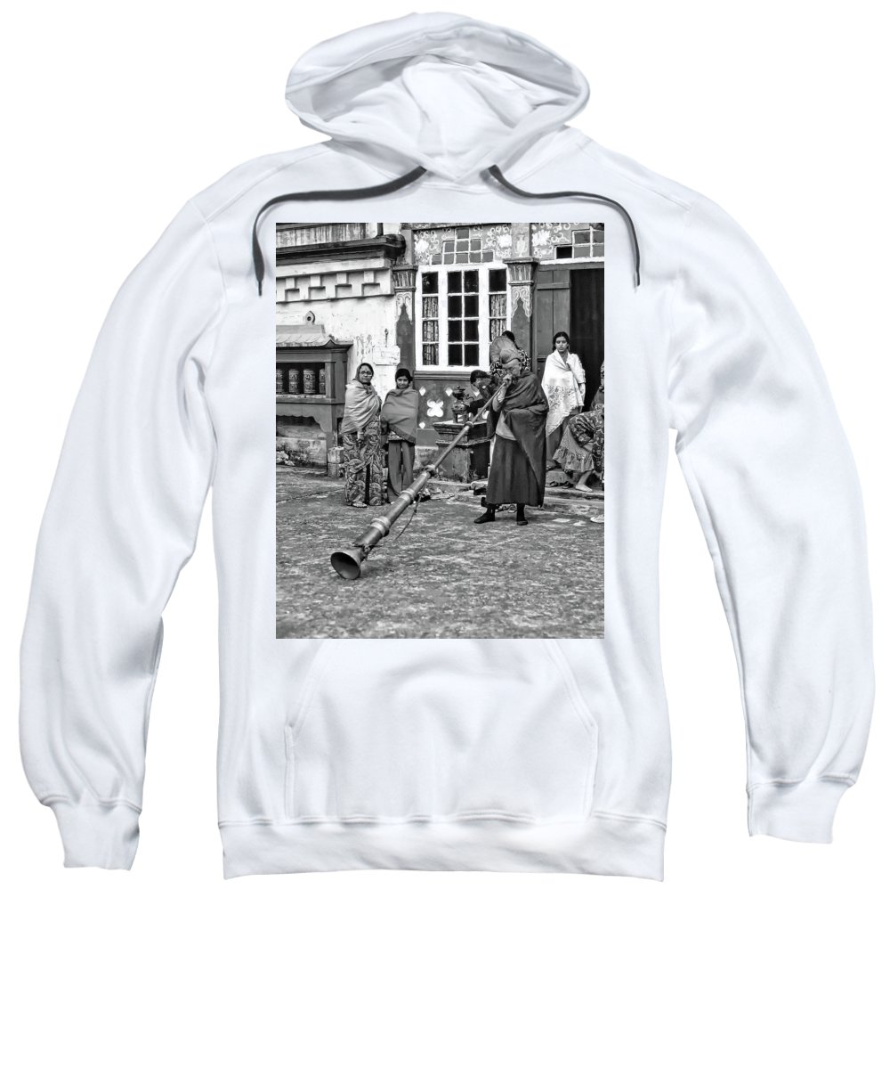 Ghoom Monastery Sweatshirt featuring the photograph Huff And Puff Bw by Steve Harrington