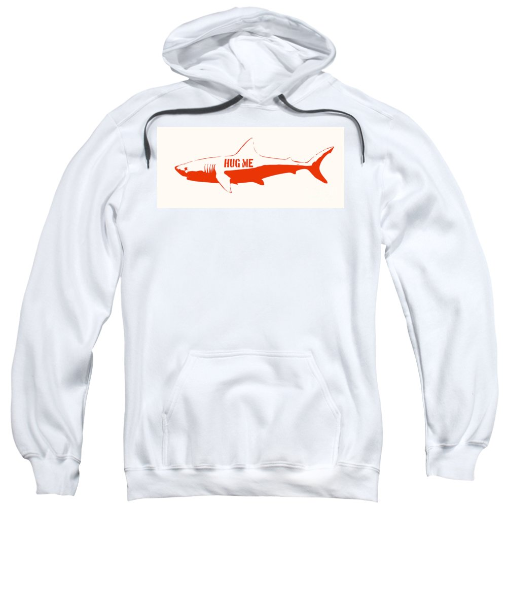 Shark Sweatshirt featuring the painting Hug Me Shark by Pixel Chimp