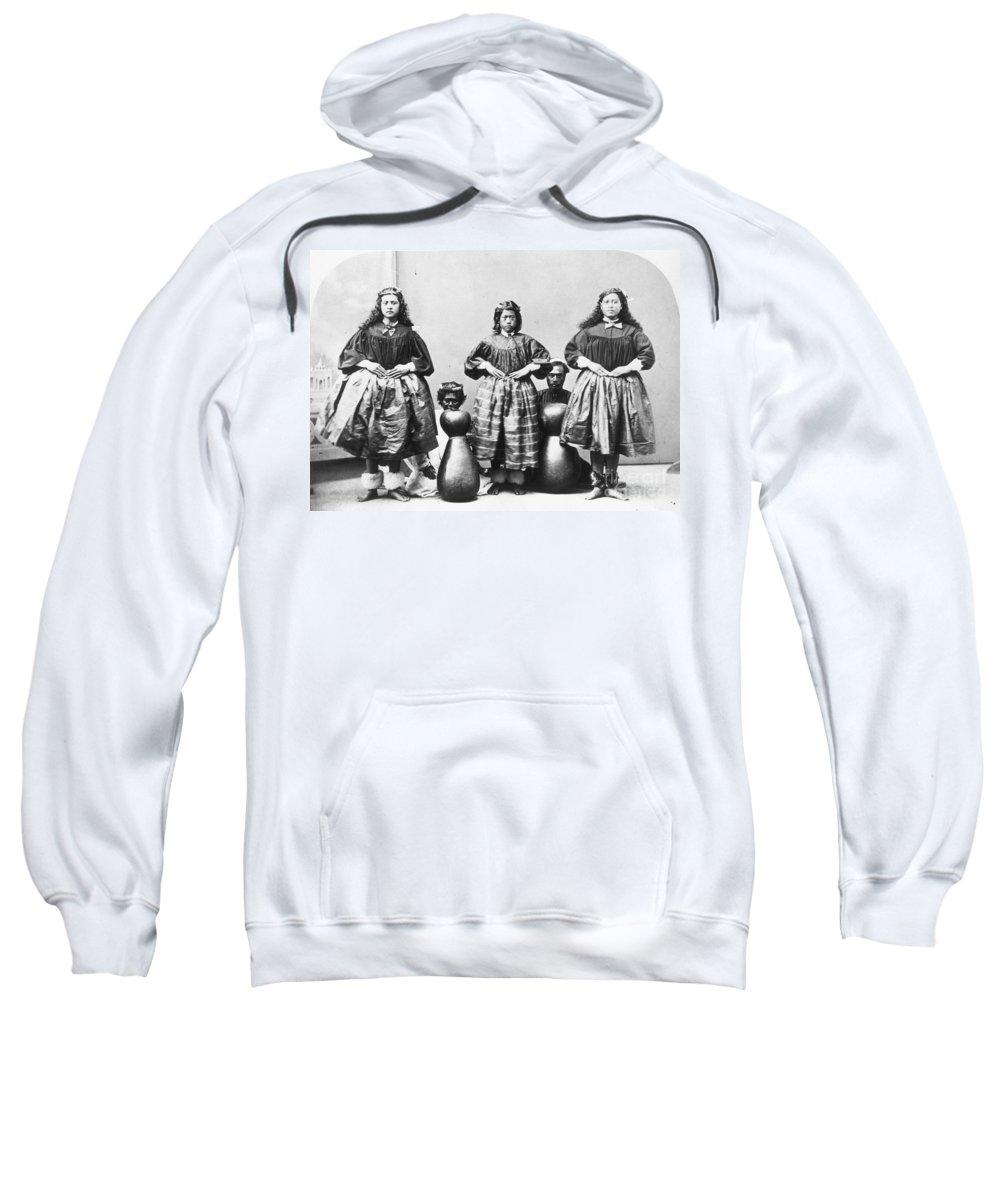 1875 Sweatshirt featuring the photograph Hula Dancers, C1875 by Granger