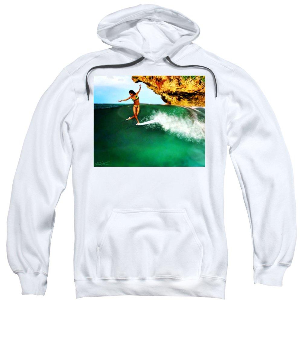 Surf Sweatshirt featuring the digital art Hula On Ka Wai by Keith Kos