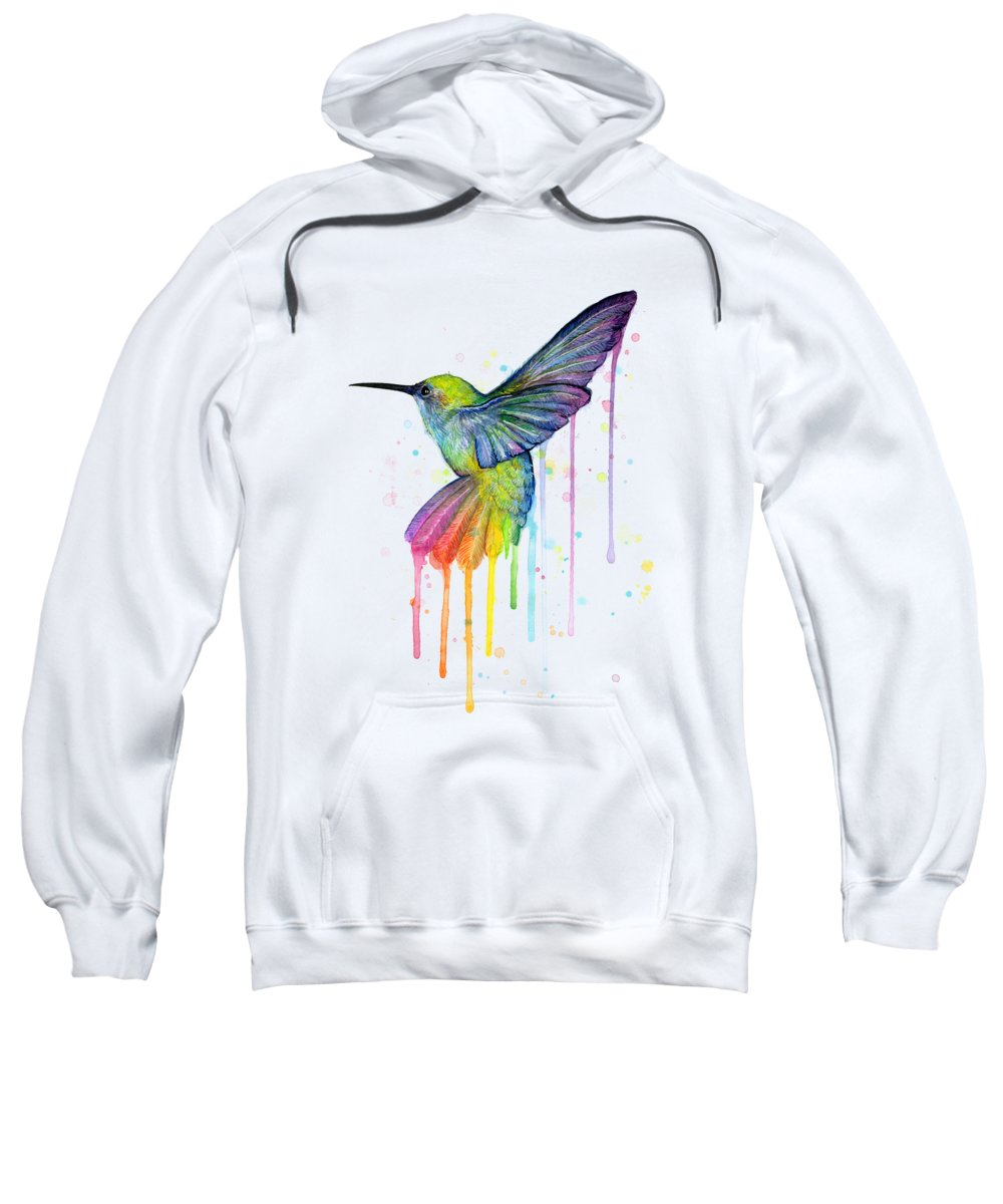 Hummingbird Sweatshirt featuring the painting Hummingbird Of Watercolor Rainbow by Olga Shvartsur